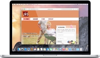 JAS-TRADE web page in Macbook